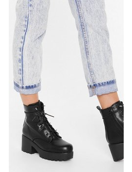 Spike Back Faux Leather Lace Up Boots by Nasty Gal