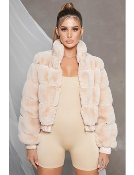 Icon Faux Fur Panel Bomber Jacket In Cream by Oh Polly
