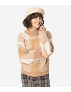 Ivory & Tan Checkered Knit Long Sleeve Sweater by Unique Vintage