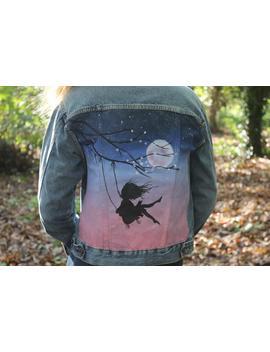Cherry Blossoms By Moonlight | Handpainted Custom Denim Jacket by Etsy