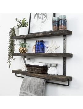 "Industrial 3 Tier Floating Shelf With Towel, 36"" by Del Hutson Designs"