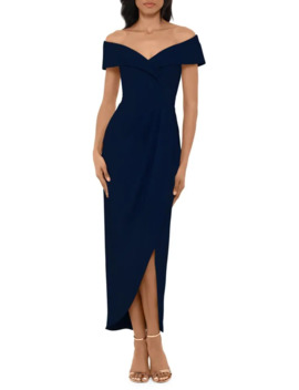 Off The Shoulder Sweetheart Crepe Midi Dress by Xscape