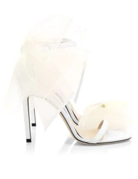 Aveline Tulle Bow Leather Sandals by Jimmy Choo