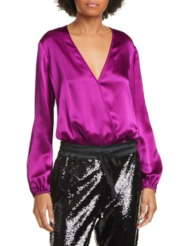 The Ally Long Sleeve Silk Bodysuit by Cami Nyc