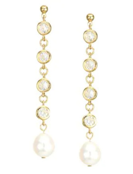 Bling 14 K Yellow Goldplated, Crystal & 12 Mm Freshwater Pearl Drop Earrings by Jules Smith