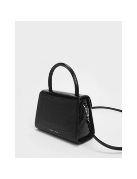 Single Chain Handle Push Lock Bag  Croc Effect Structured Top Handle Bag by Charles & Keith