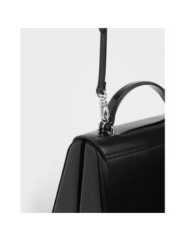 Single Chain Handle Push Lock Bag  Structured Top Handle Bag by Charles & Keith