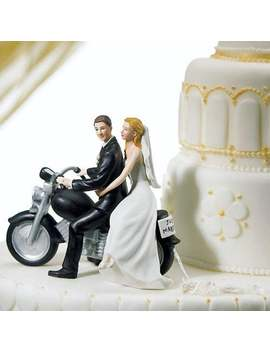 Bride And Groom On A Motorbike Porcelain Wedding Cake Topper   Hair Colour Can Be Personalised by Etsy
