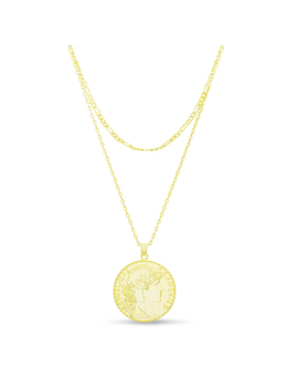 Womens French Coin Double Layer Necklace In Yellow Goldtone Sterling Silver by Online
