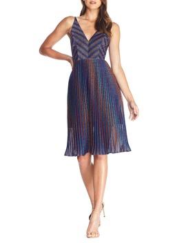 Haley Metallic Stripe V Neck Cocktail Dress by Dress The Population