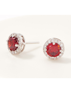Diamonique Simulated Birthstone Stud Earrings, Sterling Silver by Qvc
