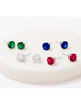 Colors Of Diamonique Set Of 4 Stud Earrings, Sterling Silver by Round Cut