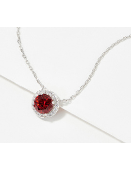 Diamonique Simulated Birthstone Necklace, Sterling Silver by Qvc