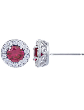 Diamonique Simulated Halo Birthstone Stud Earrings by Round Cut