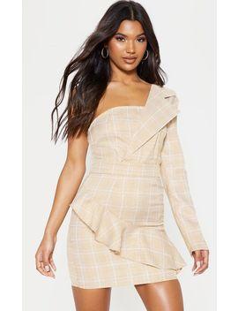 Beige Check Print Asymmetric Frill Bodycon Dress by Prettylittlething