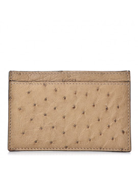 Gucci Ostrich Card Case Holder Brown by Gucci