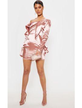 Rose Satin Asymmetric Sleeve Frill Bodycon Dress by Prettylittlething