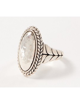 Jai Sterling Silver Hammered Oval Ring by Jai