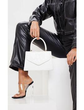 White Croc Pu Envelope Grab Bag by Prettylittlething