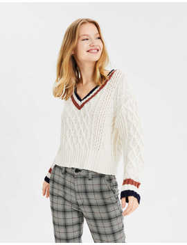 Ae V Neck Cropped Cable Knit Sweater by American Eagle Outfitters