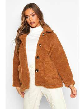 Button Front Teddy Faux Fur Jacket by Boohoo