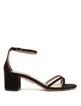 Purist 50 Block Heel Suede Sandals by Aquazzura