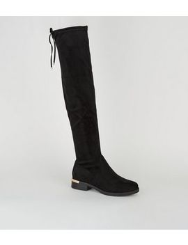 Wide Fit Black Metal Trim Over The Knee Boots by New Look