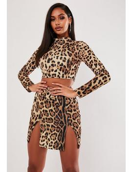 Brown Leopard Print Double Split Skirt Co Ord Set by Missguided