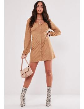 Tan Faux Suede Milkmaid Mini Dress by Missguided