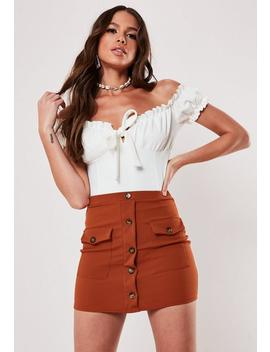 Rust Mock Horn Button Pocket Bodycon Mini Skirt by Missguided