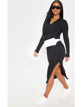 Black Polo Midi Dress by Prettylittlething