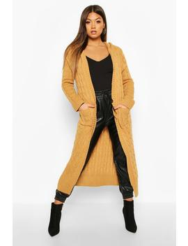 Cable Knit Hooded Maxi Cardigan by Boohoo
