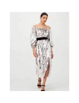 Bardot Sequin Blouson Sleeve Velvet Tie Midi Dress   Silver by V By Very
