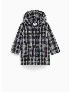 Check BouclÉ Three Quarter Length Coat by Zara