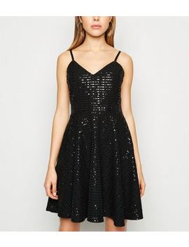 Black Sequin Strappy Skater Dress by New Look