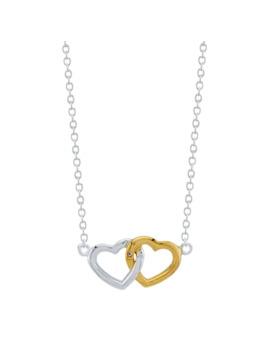Lovethis Life Double Heart Sterling Silver Two Tone Pendant Necklace by Lovethislife
