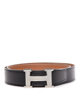 Hermes Swift Togo 32mm Guilloche H Belt 85 Black Gold by Hermes