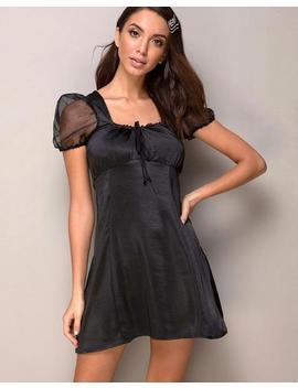 Guenelle Dress In Satin Black By Motel by Motel