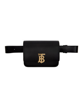 Black Leather Tb Bum Bag by Burberry