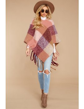 Warm Around You Pink Multi Poncho by Yuri Apparel