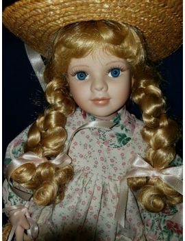 """17"""" Blonde Blue Eyes Porcelain Doll (With Stand) Watering Can And Flower Basket by Ebay Seller"""