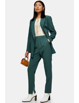 Green Split Cigarette Pants by Topshop