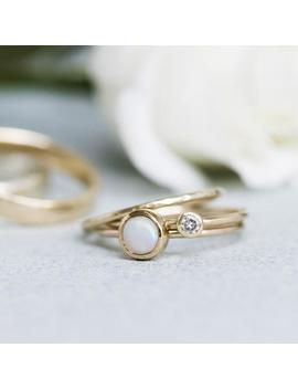 Milky Opal Ring   9ct Yellow Gold   Stacking by Etsy
