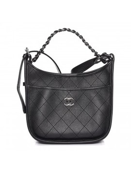 Chanel Calfskin Quilted Jungle Stroll Hobo Bag Black by Chanel