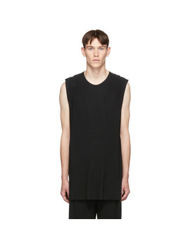 Black Pleated Tank Top by Homme PlissÉ Issey Miyake