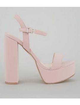 Pink Platform Heel Sandals by New Look