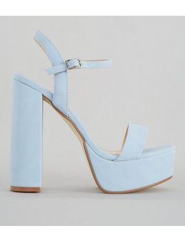 Pale Blue Platform Heel Sandals by New Look