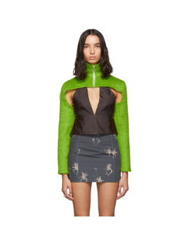 Ssense Exclusive Green Mohair Cropped Zip Up Sweater by Helenamanzano