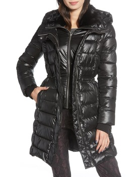 Faux Fur Lined Puffer Jacket With Inset Bib by French Connection
