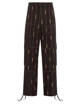 Wheat Embroidered Straight Leg Twill Trousers by Jacquemus